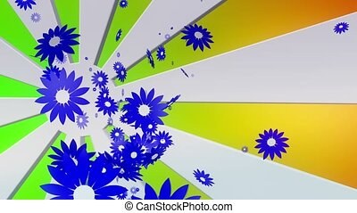 Flying blue flowers on sunburst