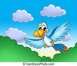 Flying blue parrot