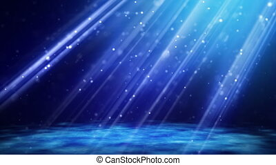 flying blue particles in light beam