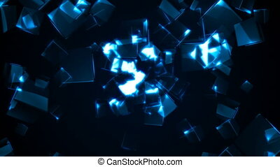 Flying blue rectangular cubes