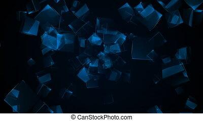 Flying blue rectangular cubes. Seamless loop