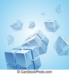 Flying blue transparent cubes background. RGB EPS 10 vector