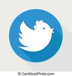 Flying blue twitter bird