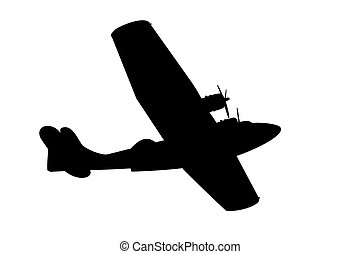 flying boat silhouette - silhouette of a vintage propeller...
