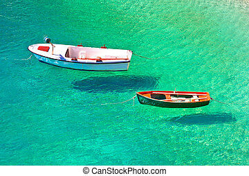 Flying boats on turquoise sea aerial view