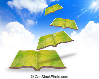 Flying books ,education concept