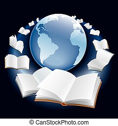 Open books are flying around earth globe in space.