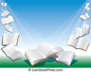 Flying books - Open flying books, blue background with...