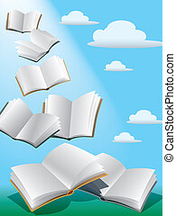 Flying books - Open flying books in the sky with sunshine.