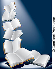 Open flying books on dark blue background with sunshine.