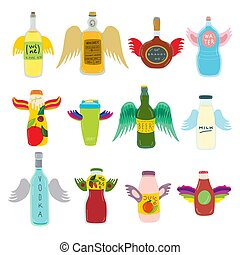 Flying bottle with wings for beverage on vector drinking ...