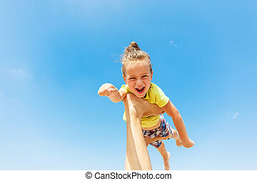 Flying boy like super hero