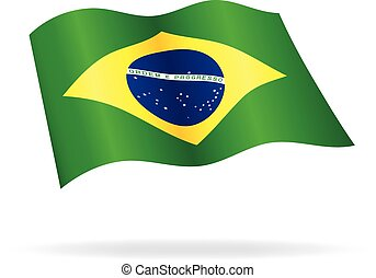 flying Brazilian flag Brazil silk vector