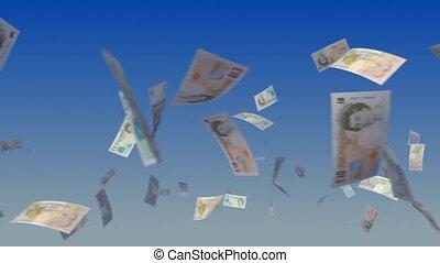 Flying British Pound Notes on Sky - Flying British Pound...