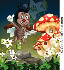 Flying Brown Beetle On Top if White Ivy Flowers With Mushroom House Cartoon