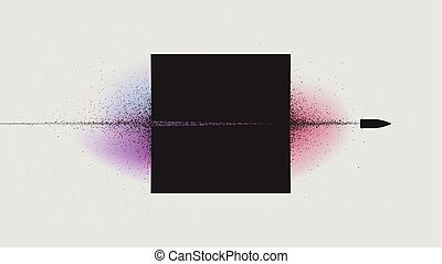 Flying bullet through the black square, Particle explosion ...