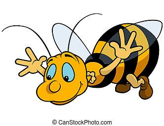Flying Bumblebee - Colored Cartoon Illustration, Vector