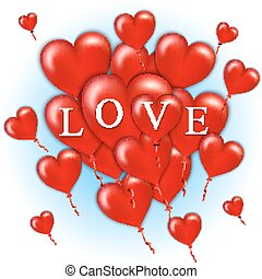 Flying bunch of red balloon hearts. Happy Valentines Day. Vector illustration