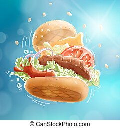 Flying Burger Blue Bokeh Background EPS10