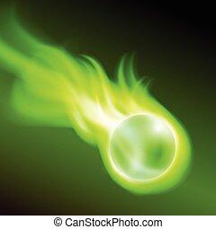 Flying burning ball on green fire