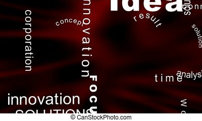 Flying business oriented words on the red background
