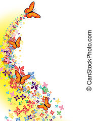 flying butterflies - butterfly, flowers