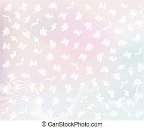 flying butterflies in pastel colors