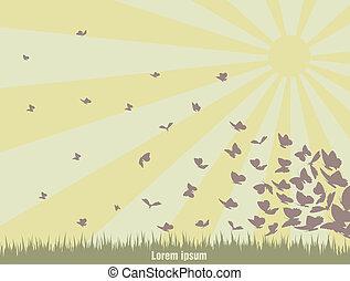 flying butterflies on a green landscape