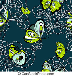 Flying butterflies seamless pattern