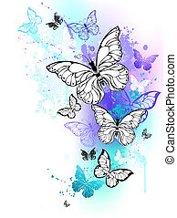 Flying butterflies watercolor