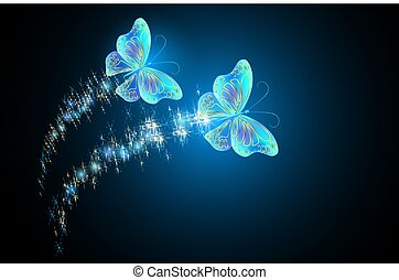 Flying butterflies with sparkle and blazing trail - Flying...