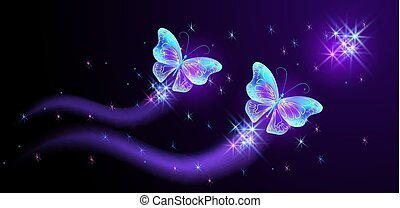 Flying butterflies with sparkle and blazing trail