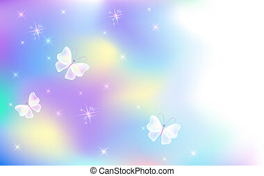 Flying butterflies with sparkle stars