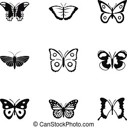 Flying butterfly icons set, simple style