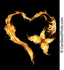 Flying butterfly with burning heart