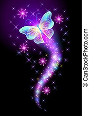 Flying butterfly with sparkle and blazing trail