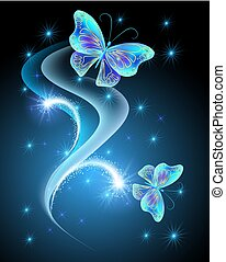 Flying butterfly with sparkle stars