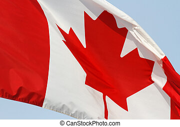 Flying Canadian Flag with blue sky