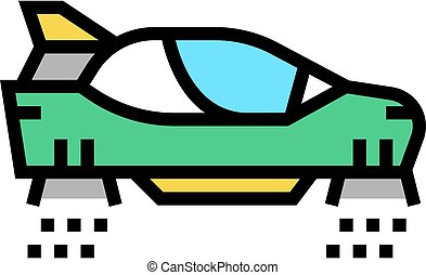 flying car color icon vector illustration