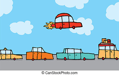 Flying car gets above traffic - Cartoon illustration of a...