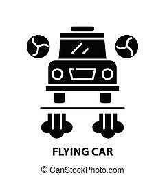 flying car icon, black vector sign with editable strokes, concept illustration