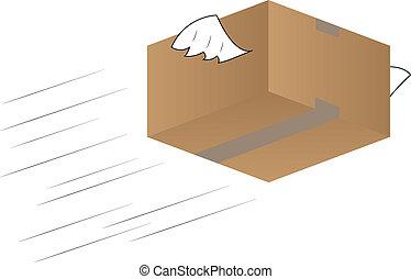 Flying cardboard box