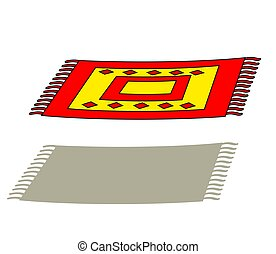 Flying carpet on a white background. Cartoon.