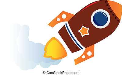 Flying cartoon brown rocket isolated on white