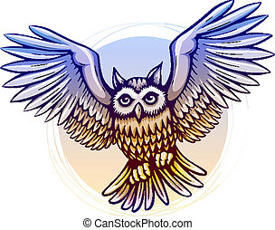 flying cartoon owl with color wings - flying cartoon owl...