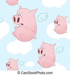 Flying Cartoon Pigs Pattern