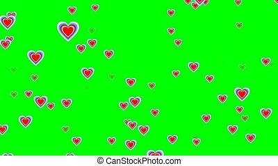 Flying cheerful hearts on green screen. Cute love video...