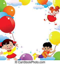 Flying. - Children flying on balloons. Place for your text. ...