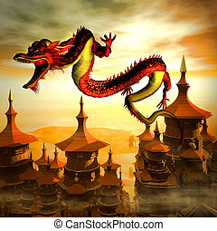 Flying Chinese Dragon - Red Chinese-style dragon flies over...