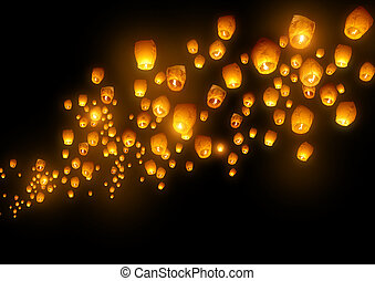 Mass group of flying wishes (chinese lanterns)